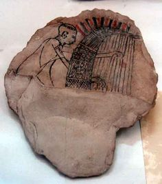 Limestone ostrica of a 'blind' harpist from the New Kingdom. Egypt.