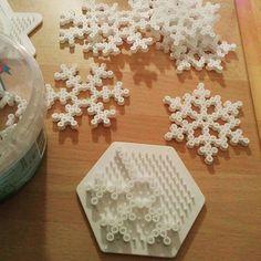 Snowflakes perler beads by herleh