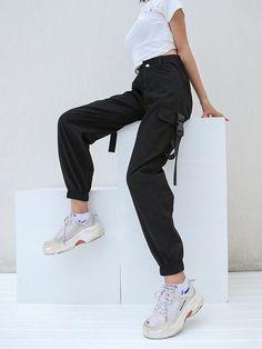 Luluslike 3 Colors High Waist Cargo Pants For Women Korean Fashion Trends, Korea Fashion, Cargo Pants Women, Pants For Women, Trousers Women, Casual T Shirts, Casual Pants, Plus Size Maxi Dresses