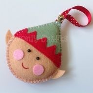 This cute Elf Christmas decoration is designed and hand stitched by Devonly Crafts in Devon, England. Ernie the Elf is made with felt and is completely hand stitched. He is stuffed with polyester filling and finished with a satin polka-dot hanging ribb...