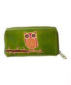 Green Owl Zipper Wallet