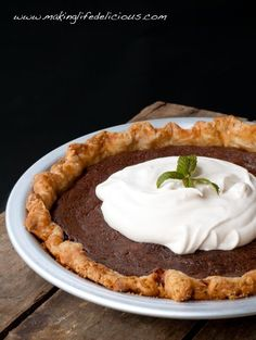 Janey's Chocolate Chess Pie _ Chess Pie…it's a Southern Thing! There are many different flavors, but the chocolate pie is kind of chewy, fudgy & sweet in a crispy buttery crust. Nothing wrong with that, right?