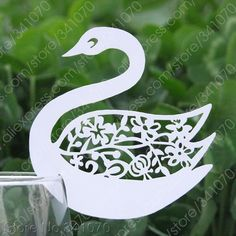 Laser Cut Paper Swan Place Cards / Cup Cards / Wine Glass Cards / Escort Cards Wedding Favors Party Decor, FREE SHIPPING - TE01