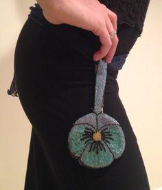 1920s Blue Flower Glass Bead Belt Purse / Flapper by CirqueDeco, $195.00