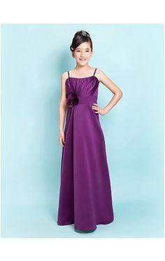 A-line Spaghetti Straps Floor-length Satin Junior Bridesmaid Dress