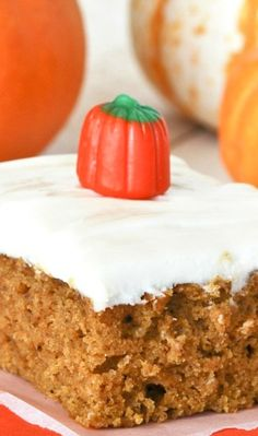 Pumpkin Cake with Cream Cheese Frosting. This simple cake is incredibly moist and tender and topped with the perfect amount of amazing cream cheese frosting!