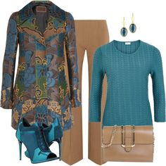 Teal & Taupe Look by romaboots-1 on Polyvore featuring Eastex, Etro, Agnona, Burberry, Chloé and Tacori