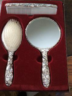 3 piece dresser set brush comb mirror silver plated by EMTWTT
