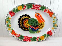 Vintage Turkey Platter Enamel Metal Retro Large Thanksgiving Serving Tray.