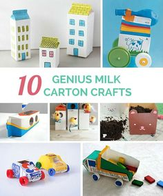 10 Genius Milk Carton Crafts. Kids will love these cute DIY toys you can make from recycling milk cartons!