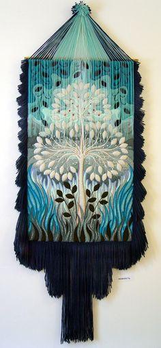 Three-dimensional non-woven tapestry by Armenian artist Yuri Hovsepian - Beauty will save Loom Weaving, Tapestry Weaving, Felt Fabric, Fabric Art, Embroidery Floss Projects, Puff Stitch Crochet, Creative Wall Decor, Latch Hook Rugs, Textile Fiber Art
