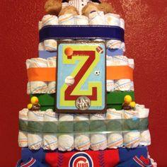 Sports themed diaper cake!
