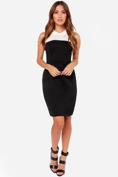 """Darling only begins to describe the Black Swan Dahliah Ivory and Black Midi Dress! Lightweight ivory crepe fabric tops this classic number with a charming collar, followed by a black stretch knit bodice with darted detail, and a fitted waist. A figure-flattering skirt falls to a modest midi length. Keyhole cutout with loop button closure at back. Hidden back zipper. Unlined. Model is 5'7"""" and is wearing a size small. Shell 76% Polyester, 19% Rayon, 5% Spandex. Crepe: 100% Rayon. Hand Wash…"""