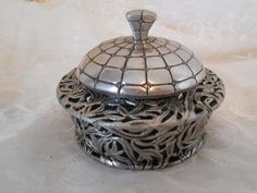 Vintage Metal Carvey Trinket Box/Keepsake With LId.