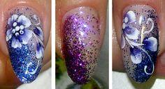 glitter blu e viola con micropittura
