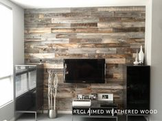 Dramatically Improving Your Space: Stikwood Wood Wall Decor. I'm in love with this Stikwood. Peel And Stick Wood, Stick Wood Wall, Peel And Stick Shiplap, Wood Sticks, Pallet Walls, Pallet Furniture, Furniture Ideas, Bedroom Furniture, Bedroom Tv