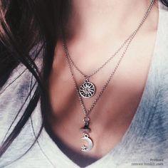 ♡ moon  #silver -  #necklace
