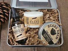 """The perfect beard grooming kit for the travellin' bearded man.     Scent: pine scotch, patchouli, peppermint – woodsy and fresh  Scent Strength: medium-strong  Therapeutic Essential Oil Benefits: invigorating, stimulating, energizing.  Key Benefits: A great """"wake-me-up"""" for the morning. Can help bring focus. Can help improve skin moisturization, and is good for those who suffer from eczema, psoriasis, or itchiness under the beard. Patchouli is believed to be an aphrodisiac for those who may…"""