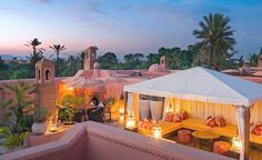 Built into the medieval walls of Marrakech, the Royal Mansour is a medina within the medina and a palace among the riad-style hotels. Porches, Bedouin Tent, Destinations, Best Boutique Hotels, Luxury Tents, Leading Hotels, Villa, Outdoor Spaces, Outdoor Decor