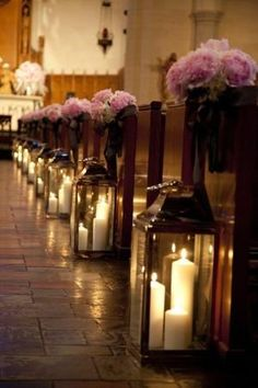glass lanterns and flower bouquets aisle decor for church wedding, pastel pink flowers decor ideas by frankie