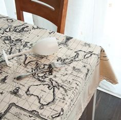 """Tablecloth - White Cotton Fabric World Map Print Table Cloth With Cotton Lace Trims. 58""""x32"""", 58""""x62"""" or 58""""x92"""" Made to Order."""