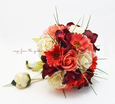 Coral Salmon Burgundy & Ivory Bridal Bouquet Real Touch Gerber Daisies Orchids and Roses
