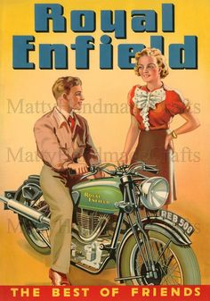 Royal Enfield Motorcycles Vintage Illustration 1930s Large Print - Royal Enfield Bullet 500, Enfield of India - Advertising Poster