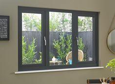Status/Supreme Grey Triple Window x French Casement Windows, Grey Windows, Upvc Windows, Interior Windows, House Windows, Windows And Doors, Sash Windows, Aluminum Windows Design, Home Organization Tips