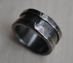 mens wedding band - rustic fine and sterling silver ring handmade wedding or engagement band - customized