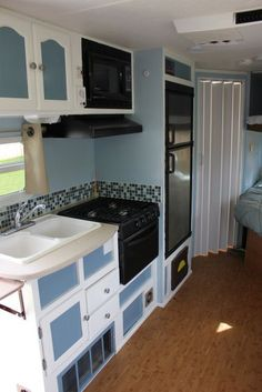 Glass tile backsplash and cork floor in an RV