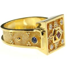 Gold ring with diamond, ruby and gemstone. A full collection of gold rings with gemstones are available from Athena's Treasures.