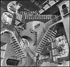 """-""""Relativity""""- Maurist Cornelis Escher, 1953  Plusieurs centre de gravité-pertes de repères-lithographie-noir et blanc-imprimé-mouvement-trouble-déstabilise"""