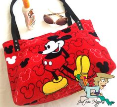 Mickey Mouse Beach Bag Tote Upcycled by JustSewHappens on Etsy, $40.00 Mickey Mouse Outfit, Mickey Mouse And Friends, Mickey Minnie Mouse, Disney Handbags, Disney Purse, Disney Outfits, Disney Clothes, Disney Fashion, Cute Purses