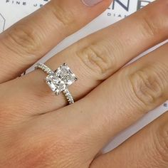 We are loving the clean look of this 2.35 carat #RadiantCut diamond paired with our model RS-318 ring. In terms of overall structure, this is one of our more streamlined designs, and the pave diamond detailing up the prongs adds just the right touch of sparkle from the profile. The gorgeous center-stone does the rest of the talking and its elongated appearance contrasts beautifully against the delicate band for a floating effect. This custom setting is available for any type/shape/size/q...