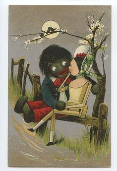 "Golliwog Antique Postcard....1910 postcard ""golliwog"".  The poor Golliwog. From children's hero to racist symbol."