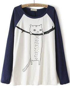 To find out about the Navy Contrast Long Sleeve Cat Print T-Shirt at SHEIN, part of our latest T-Shirts ready to shop online today! T Shirt Designs, Josie Loves, Mode Kawaii, Cat Shirts, Mode Style, Printed Shirts, Shirt Sleeves, Cute Outfits, Sweatshirts