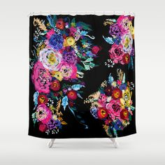 Vintage Inspired Colorful Floral Painting on Black Shower Curtain.  ~Customize your bathroom decor with a unique shower curtain designed from one of