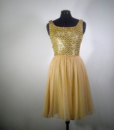 Gold Vintage Party Dress 1960s Cocktail Dress Metallic Sequin Holiday Fashion Mad Men.