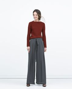 PRINTED WIDE-LEGGED TROUSERS-View all-Trousers-WOMAN | ZARA United States