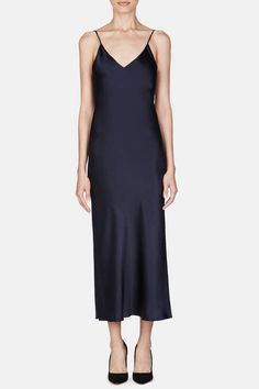 Protagonist — Dress 15 Bias Slip Dress   Navy — THE LINE