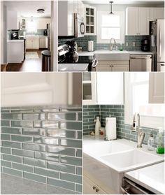 ikea kitchen renovation White Ikea Bodbyn kitchen blue glass tile backsplash