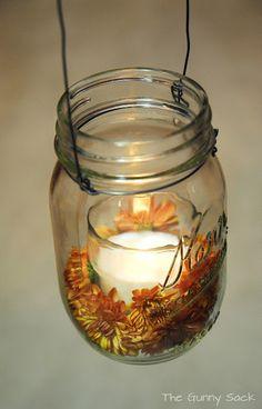 The Gunny Sack: {Autumn Decor} Mason Jar Mum Candles