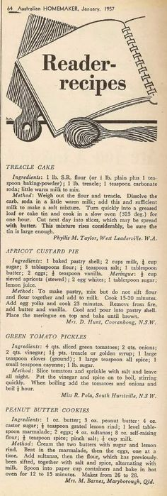 Treacle Cake • Apricot Custard Pie • Green Tomato Pickles • Peanut Butter Cookies (1957)