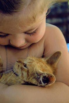 Little Girl. Kitten. Sweet.