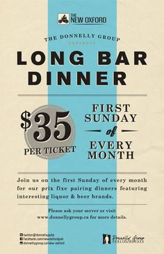 Long Bar Pairing Dinner - Sunday September 2, 2012.  Visit us to purchase your tickets!