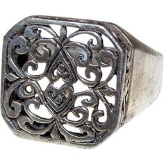 ON SALE NOW!!! 30%OFF!!!  Vintage Art Nouveau Sterling Silver 925 Filigree Romantic Floral Statement Ring Cocktail Size 7