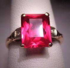 Antique Ruby Diamond Ring Vintage Art Deco