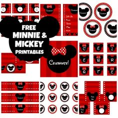 Free Mickey Mouse and Minnie Mouse party printables! #birthday.