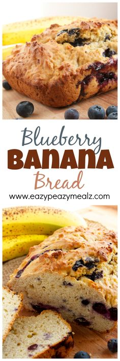 Blueberry Banana Bread: Not your normal banana bread, this offers the filling, heavy quick bread you are used to with a lighter, coarser texture, and is chock full of delicious anti-oxidant rich blueberries! - Eazy Peazy Mealz