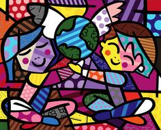 "Romero Britto {""Romero Britto was born in Recife, Brazil in 1963.  Self-taught at an early age, he painted on surfaces such as newspapers.  In 1983, he traveled to Paris where he was introduced to the work of Matisse and Picasso.  He combined influences from cubism with pop, to create a vibrant, iconic style that The New York Times describes, ""exudes warmth, optimism and love."" (http://www.britto.com/front/biography)""}"